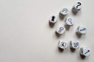 nine printed dice